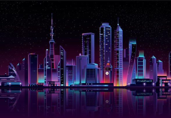 Stad in fluorkleuren op glas geprint